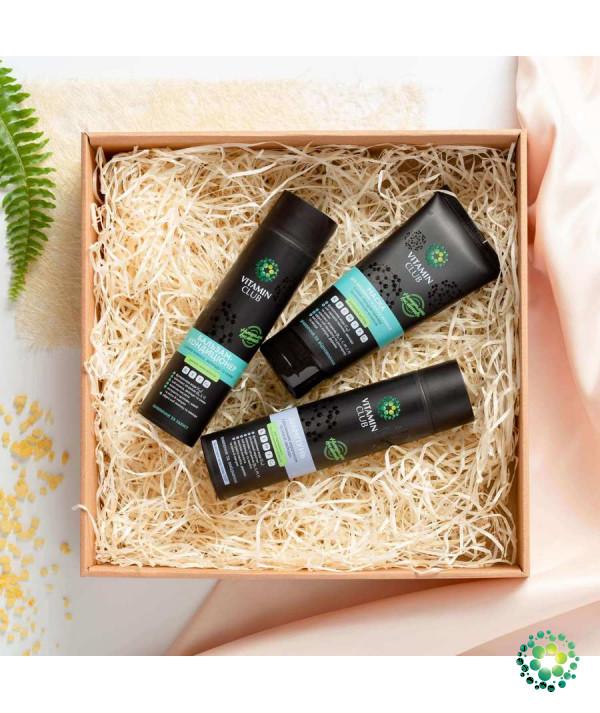 ЗМІЦНЕННЯ ТА ЖИВЛЕННЯ. Набір засобів для волосся з кератином, вітамінами і маслами